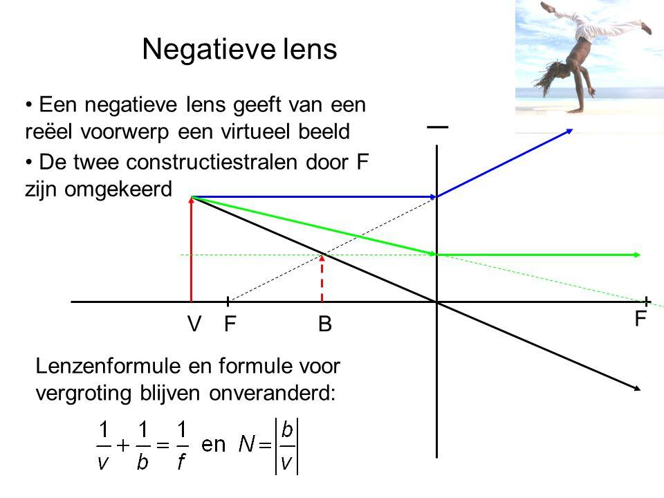 Negatieve lens _. Een negatieve lens geeft van een reëel voorwerp een virtueel beeld. De twee constructiestralen door F zijn omgekeerd.