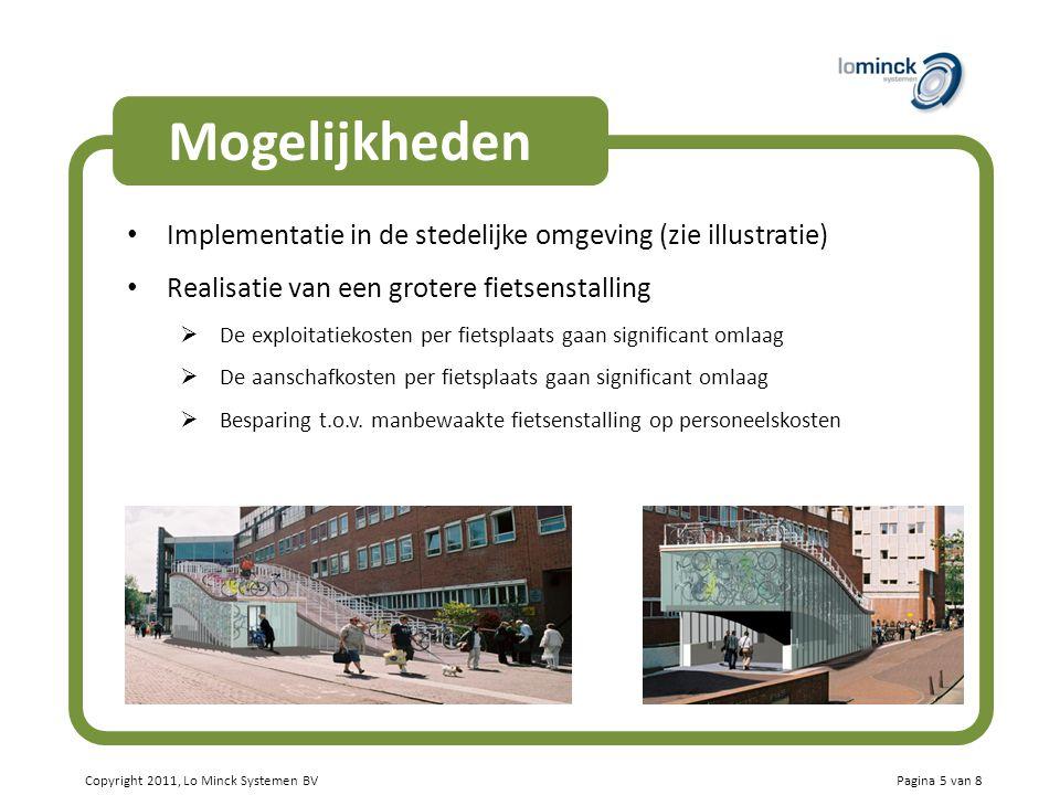 Mogelijkheden Implementatie in de stedelijke omgeving (zie illustratie) Realisatie van een grotere fietsenstalling.