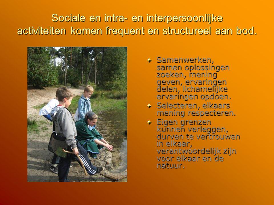 Sociale en intra- en interpersoonlijke activiteiten komen frequent en structureel aan bod.