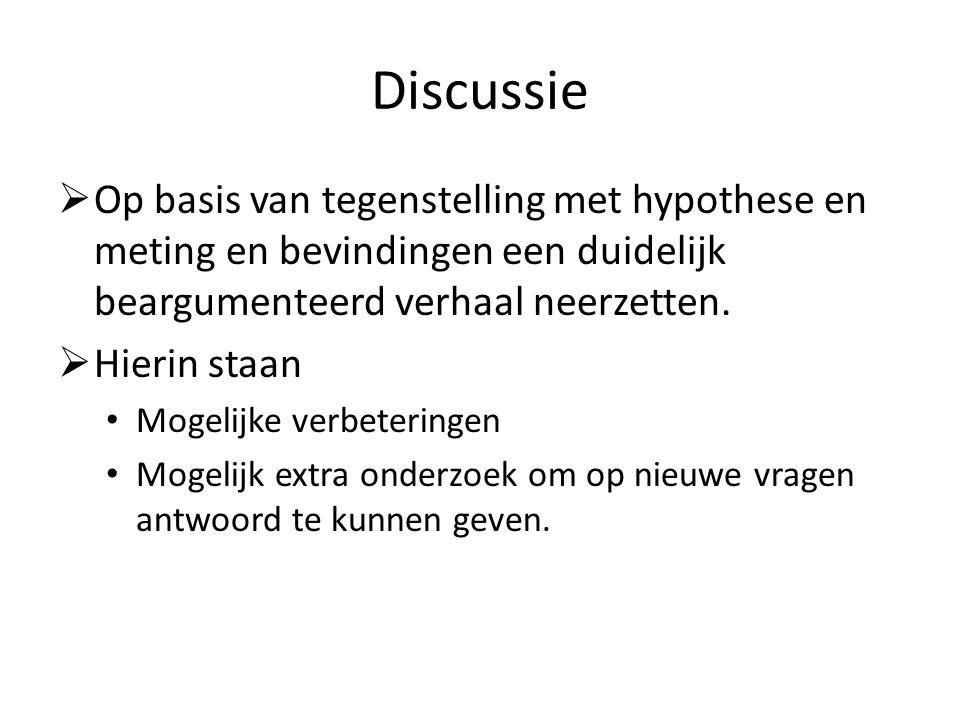 Discussie Op basis van tegenstelling met hypothese en meting en bevindingen een duidelijk beargumenteerd verhaal neerzetten.