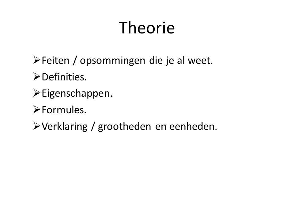 Theorie Feiten / opsommingen die je al weet. Definities.