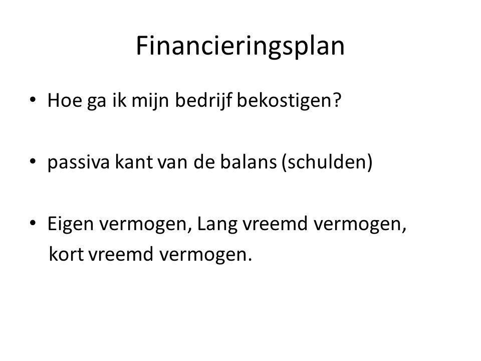 Financieringsplan Hoe ga ik mijn bedrijf bekostigen
