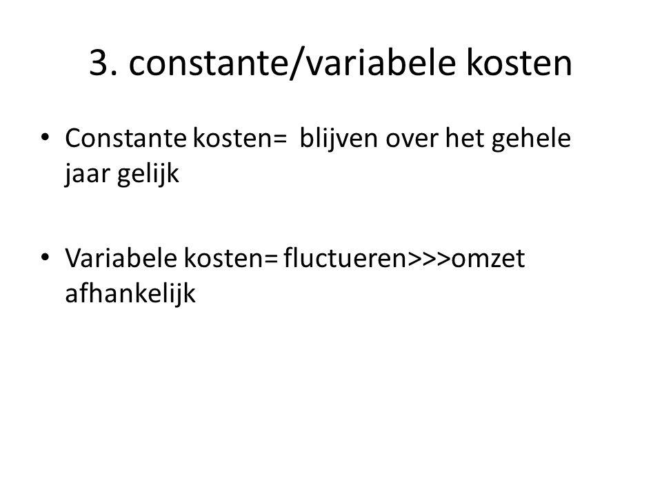 3. constante/variabele kosten