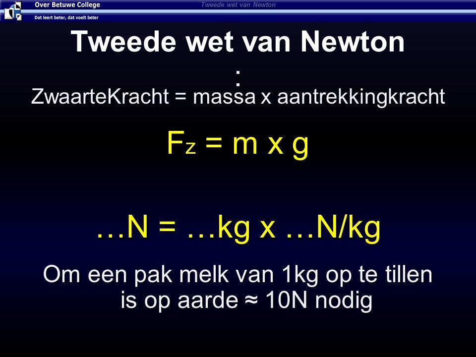 Fz = m x g …N = …kg x …N/kg Tweede wet van Newton :