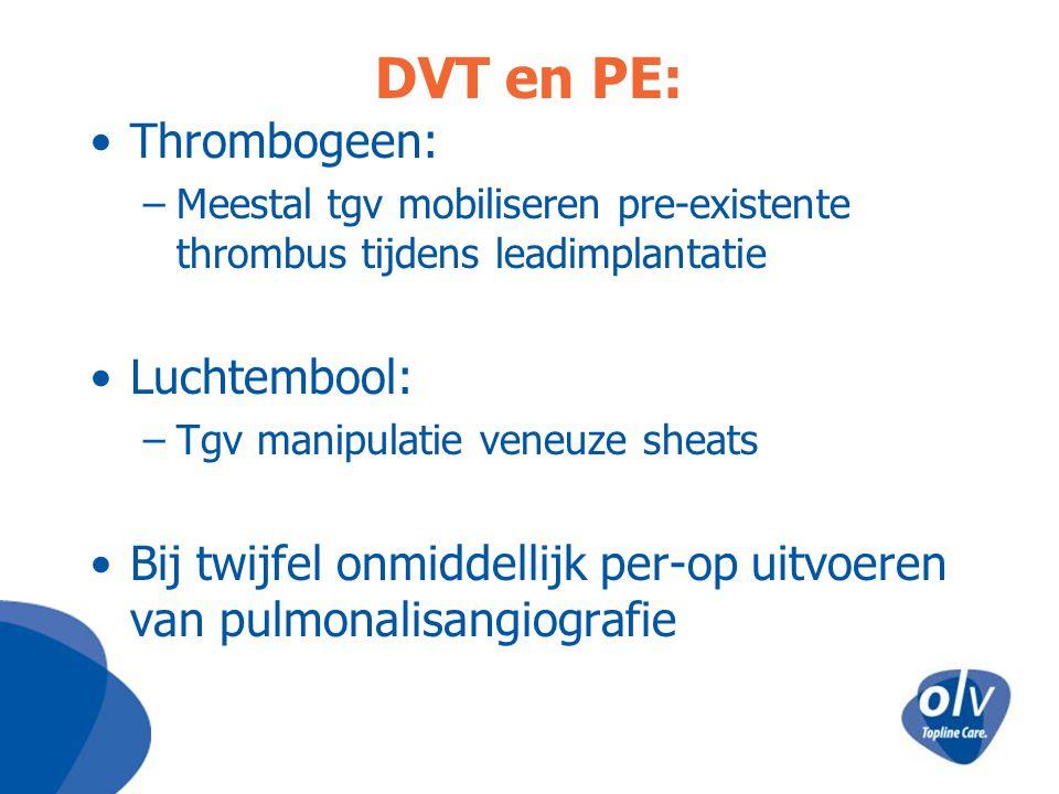 DVT en PE: Thrombogeen: Luchtembool: