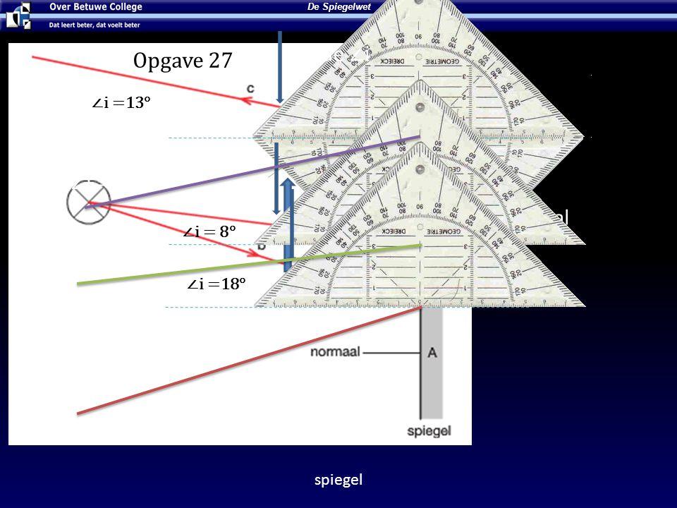 Lees de ∠i Opgave 27 ∠i = 36° Normaal ∠t = 36° ∠i =13° ∠i = 8° ∠i =18°