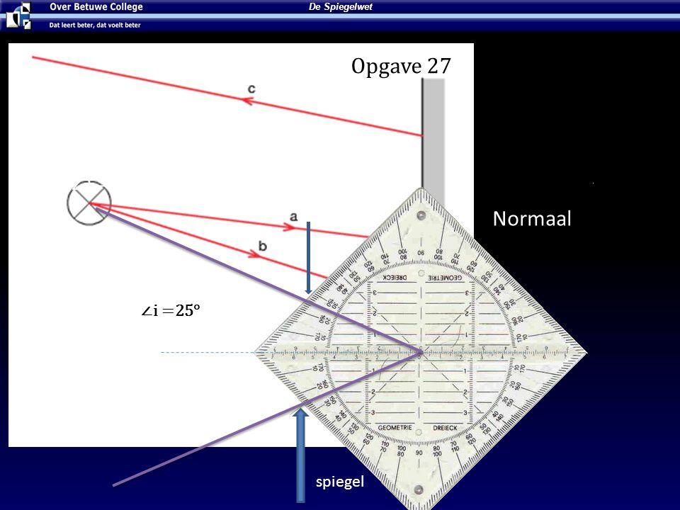 Lees de ∠i Opgave 27 ∠i = 36° Normaal ∠t = 36° ∠i =25° spiegel