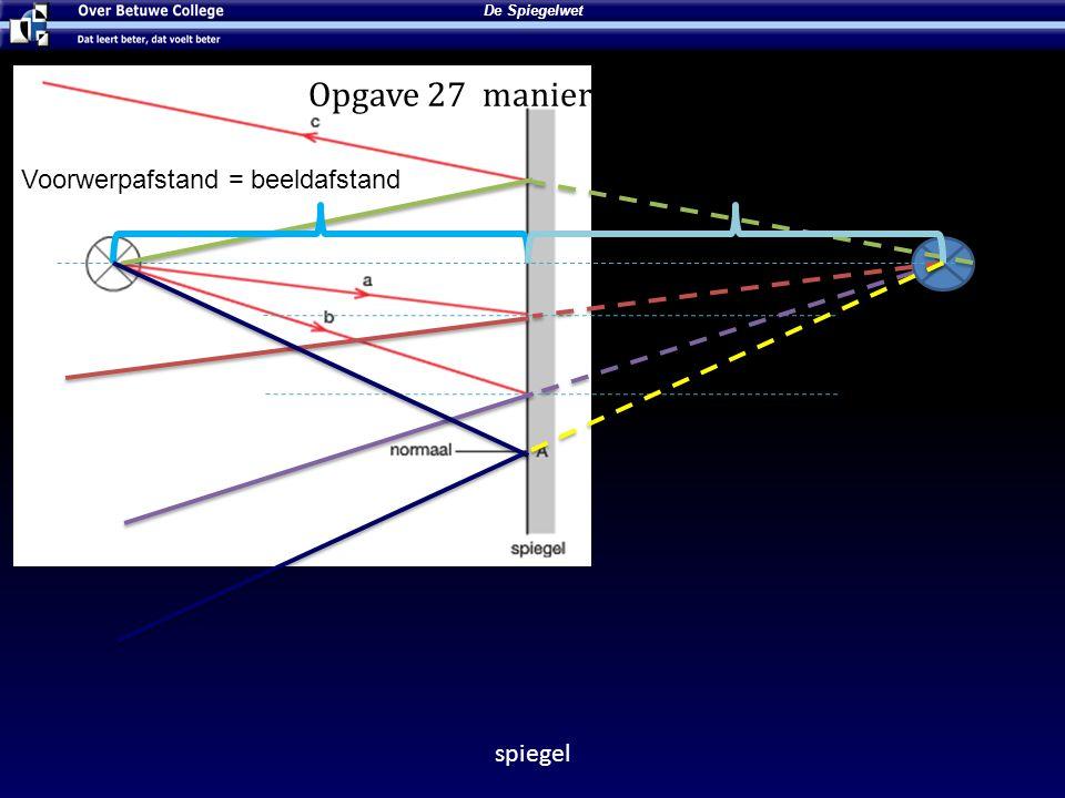 Lees de ∠i Opgave 27 manier 2 ∠t = 36° Voorwerpafstand = beeldafstand