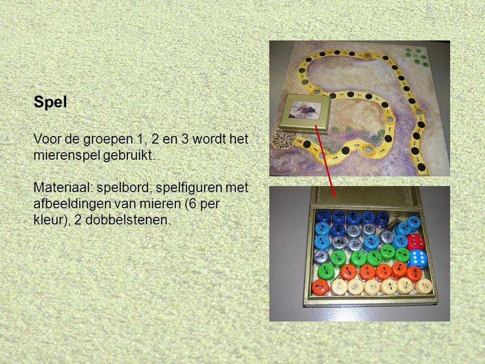 Spel Voor de groepen 1, 2 en 3 wordt het mierenspel gebruikt.
