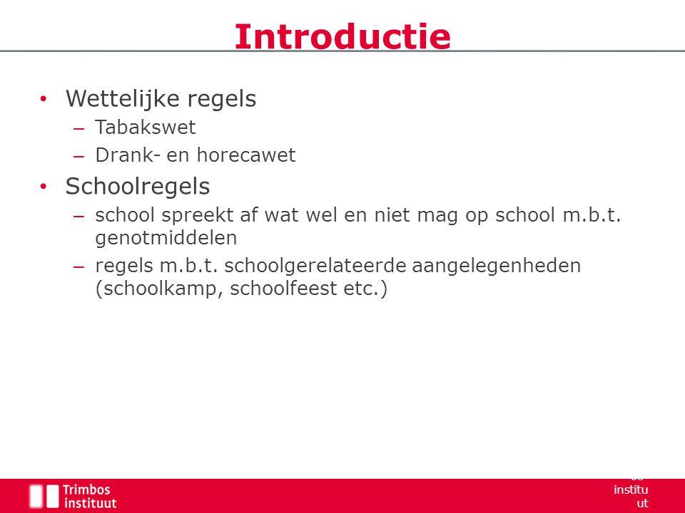 Introductie Wettelijke regels Schoolregels Tabakswet
