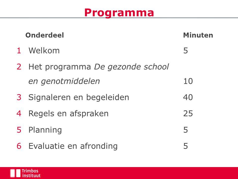 Programma Welkom 5 Het programma De gezonde school en genotmiddelen 10