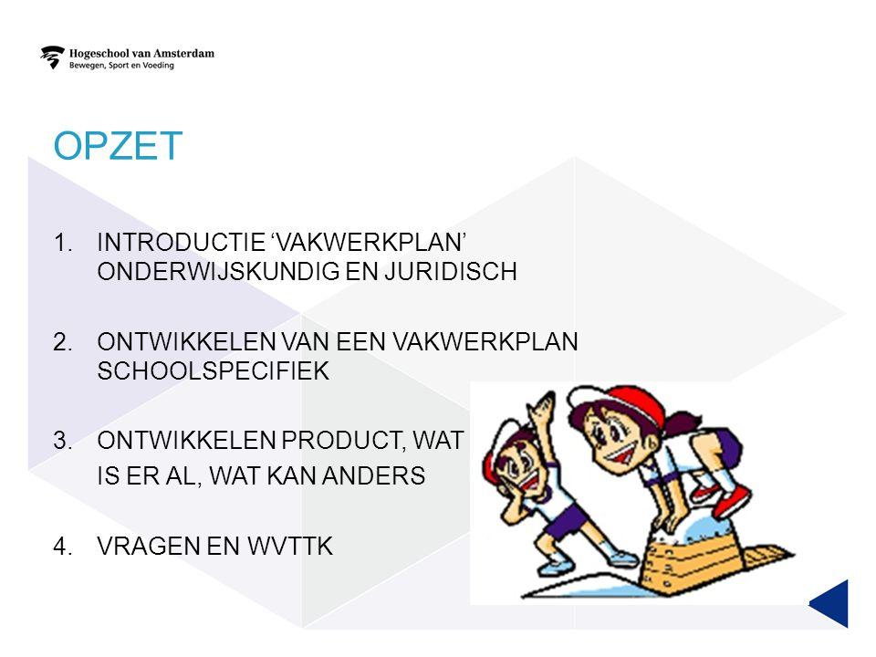 Opzet Introductie 'vakwerkplan' onderwijskundig en juridisch