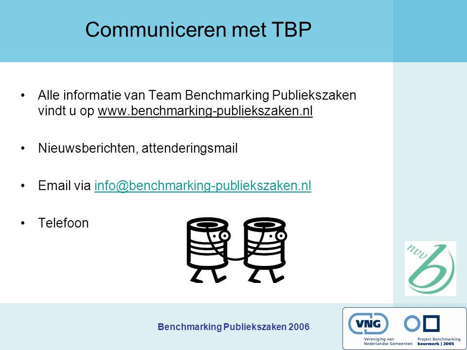 Communiceren met TBP Alle informatie van Team Benchmarking Publiekszaken vindt u op www.benchmarking-publiekszaken.nl.