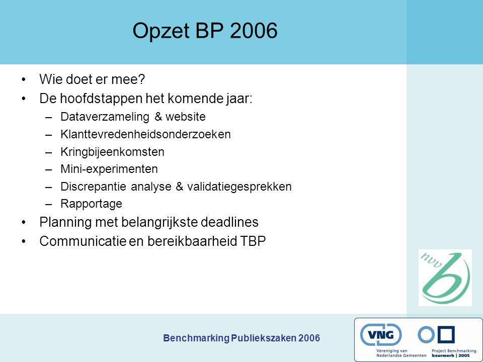 Opzet BP 2006 Wie doet er mee De hoofdstappen het komende jaar:
