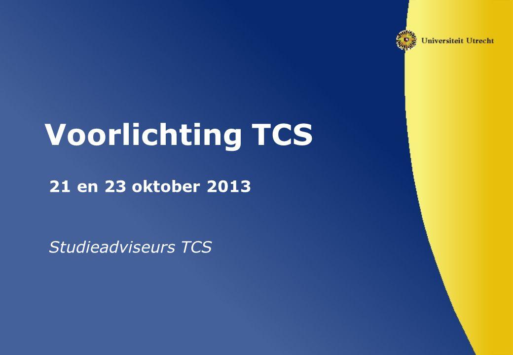 21 en 23 oktober 2013 Studieadviseurs TCS