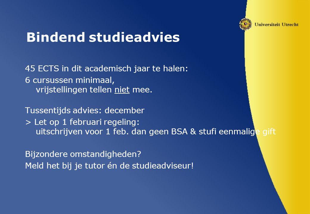Bindend studieadvies 45 ECTS in dit academisch jaar te halen: