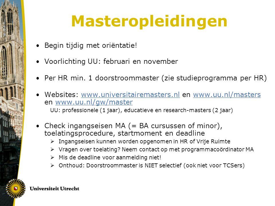 Masteropleidingen Begin tijdig met oriëntatie!