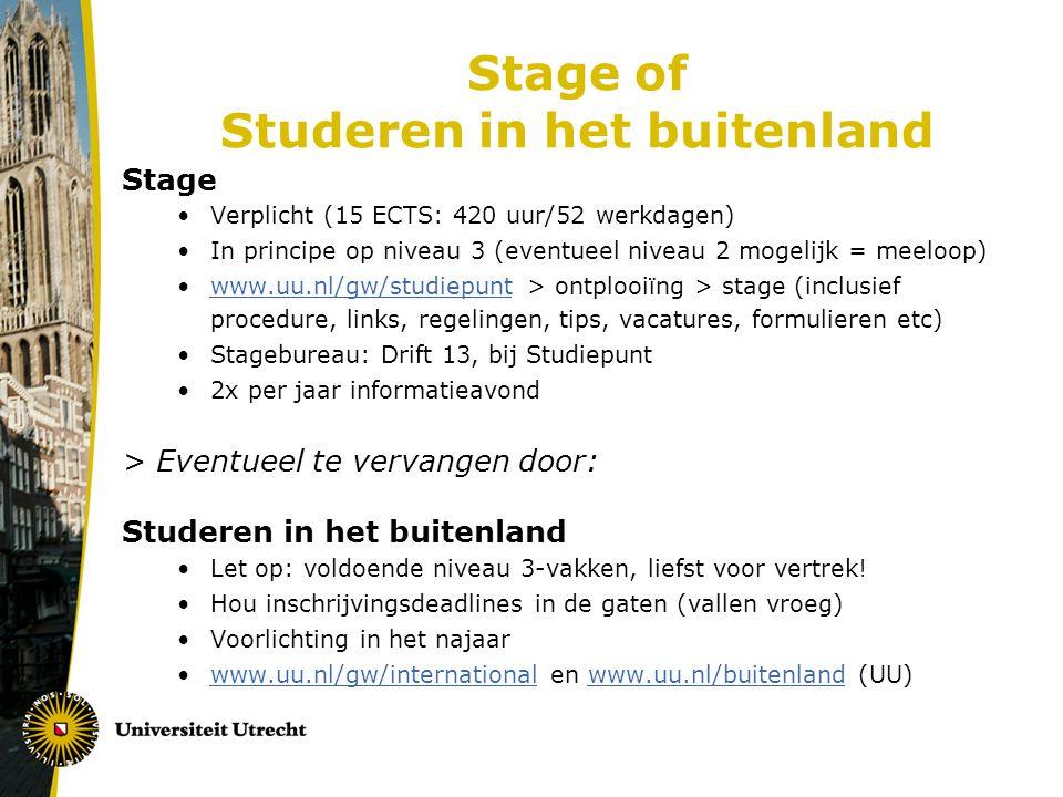 Stage of Studeren in het buitenland