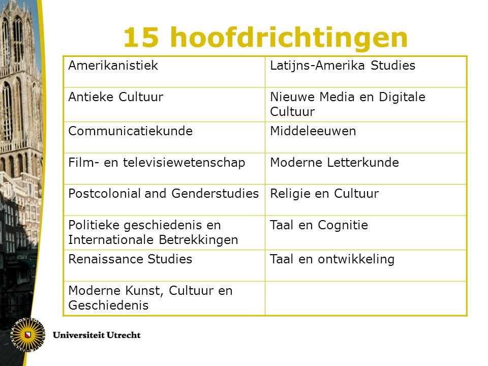 15 hoofdrichtingen Amerikanistiek Latijns-Amerika Studies