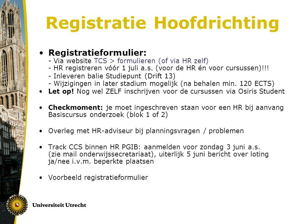 Registratie Hoofdrichting