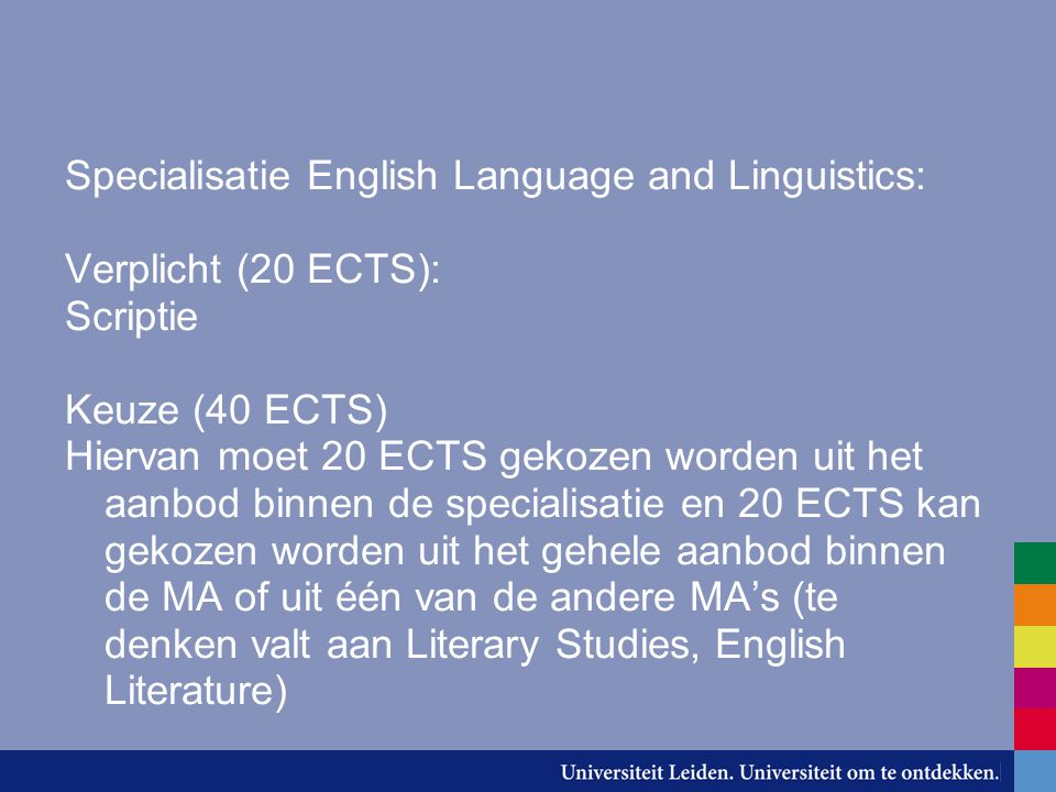 Specialisatie English Language and Linguistics: