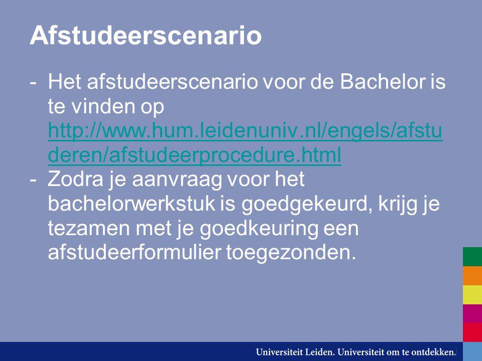 Afstudeerscenario Het afstudeerscenario voor de Bachelor is te vinden op http://www.hum.leidenuniv.nl/engels/afstuderen/afstudeerprocedure.html.