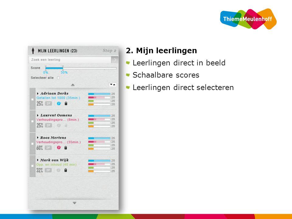 2. Mijn leerlingen Leerlingen direct in beeld Schaalbare scores Leerlingen direct selecteren