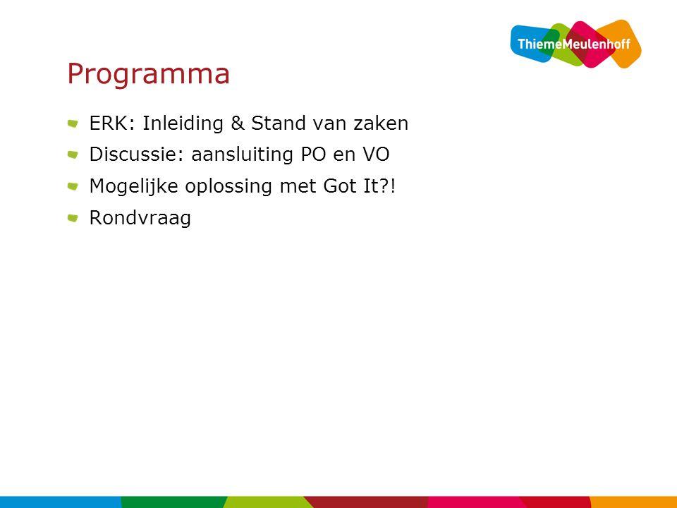 Programma ERK: Inleiding & Stand van zaken