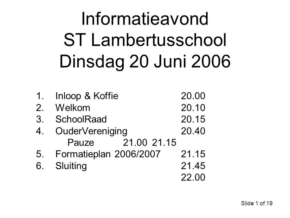 Informatieavond ST Lambertusschool Dinsdag 20 Juni 2006