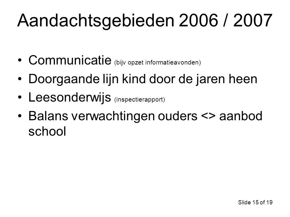 Aandachtsgebieden 2006 / 2007 Communicatie (bijv opzet informatieavonden) Doorgaande lijn kind door de jaren heen.