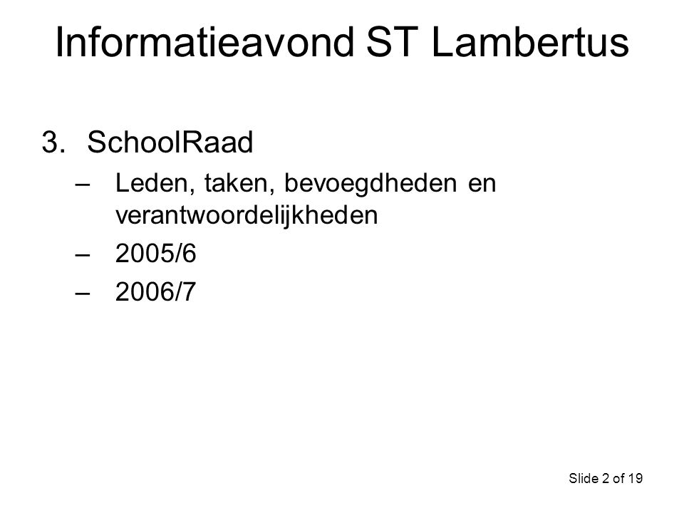 Informatieavond ST Lambertus