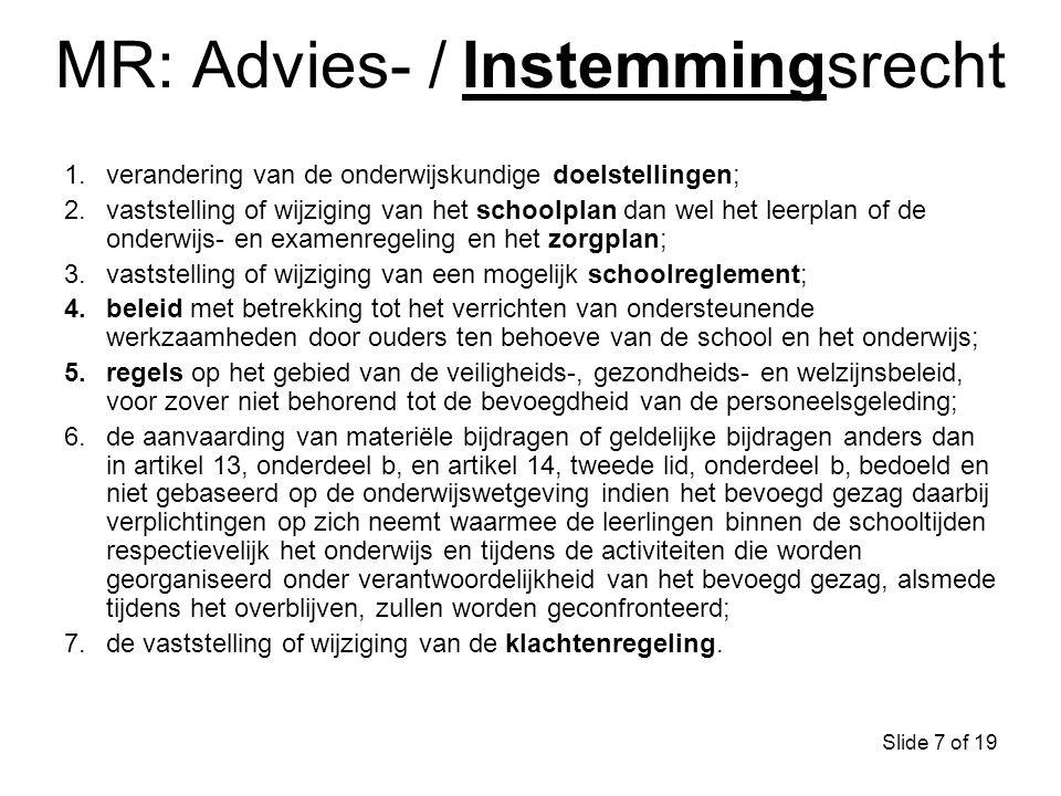 MR: Advies- / Instemmingsrecht