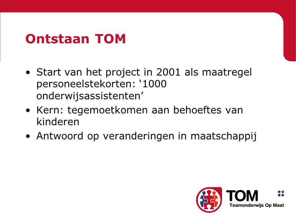 Ontstaan TOM Start van het project in 2001 als maatregel personeelstekorten: '1000 onderwijsassistenten'