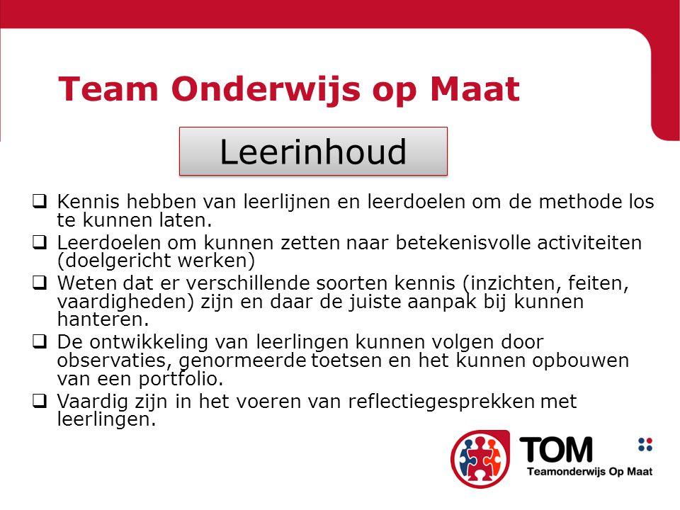 Leerinhoud Team Onderwijs op Maat