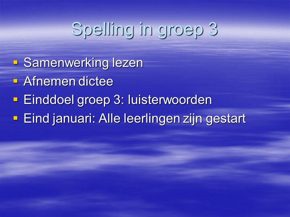Spelling in groep 3 Samenwerking lezen Afnemen dictee