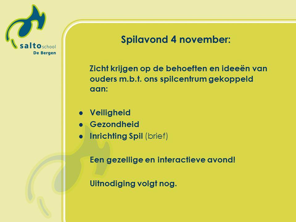 Spilavond 4 november: Zicht krijgen op de behoeften en ideeën van ouders m.b.t. ons spilcentrum gekoppeld aan: