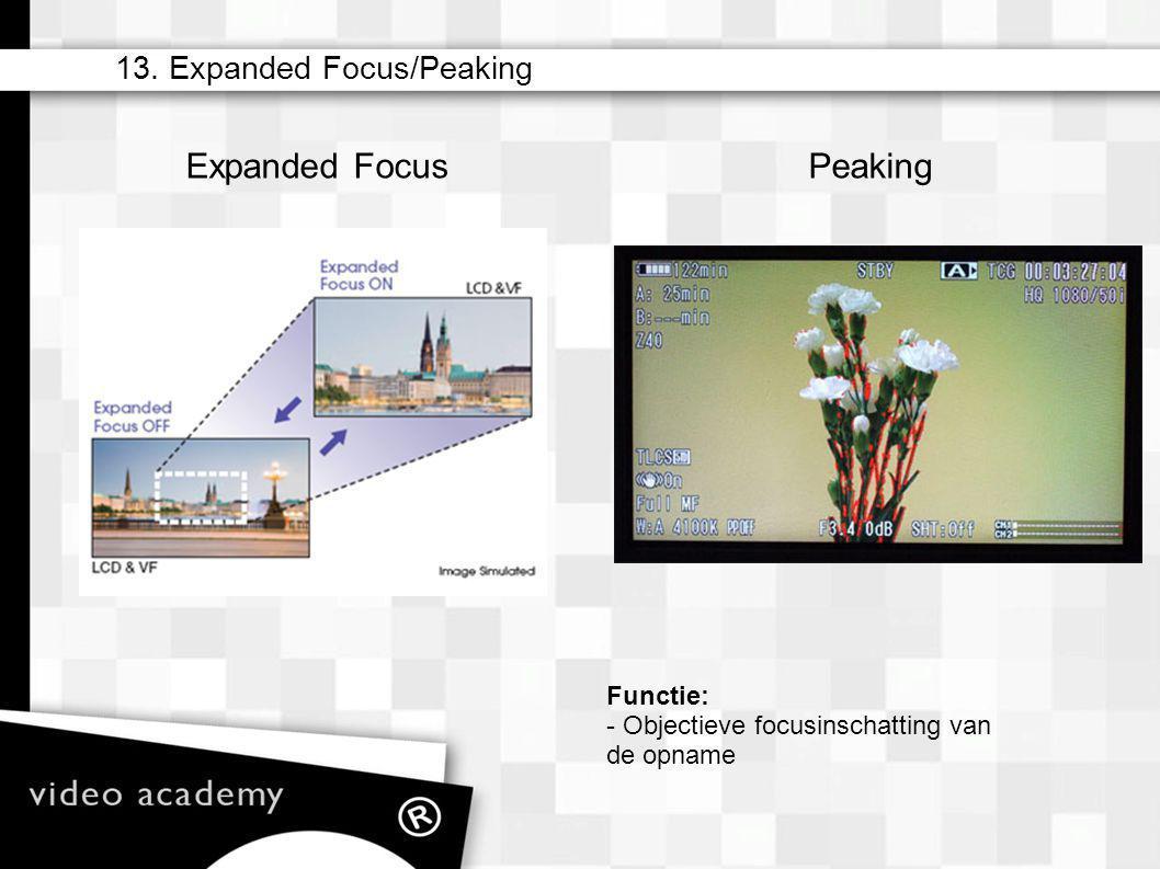 Expanded Focus Peaking 13. Expanded Focus/Peaking Functie: