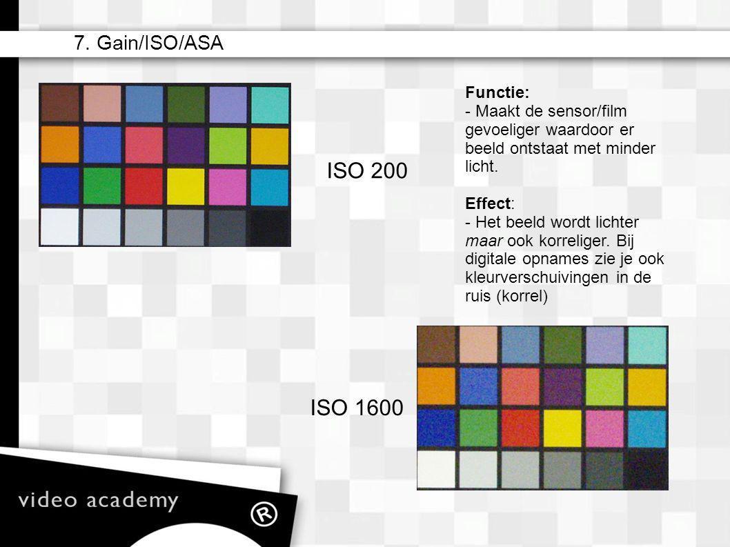 ISO 200 ISO 1600 7. Gain/ISO/ASA Functie: