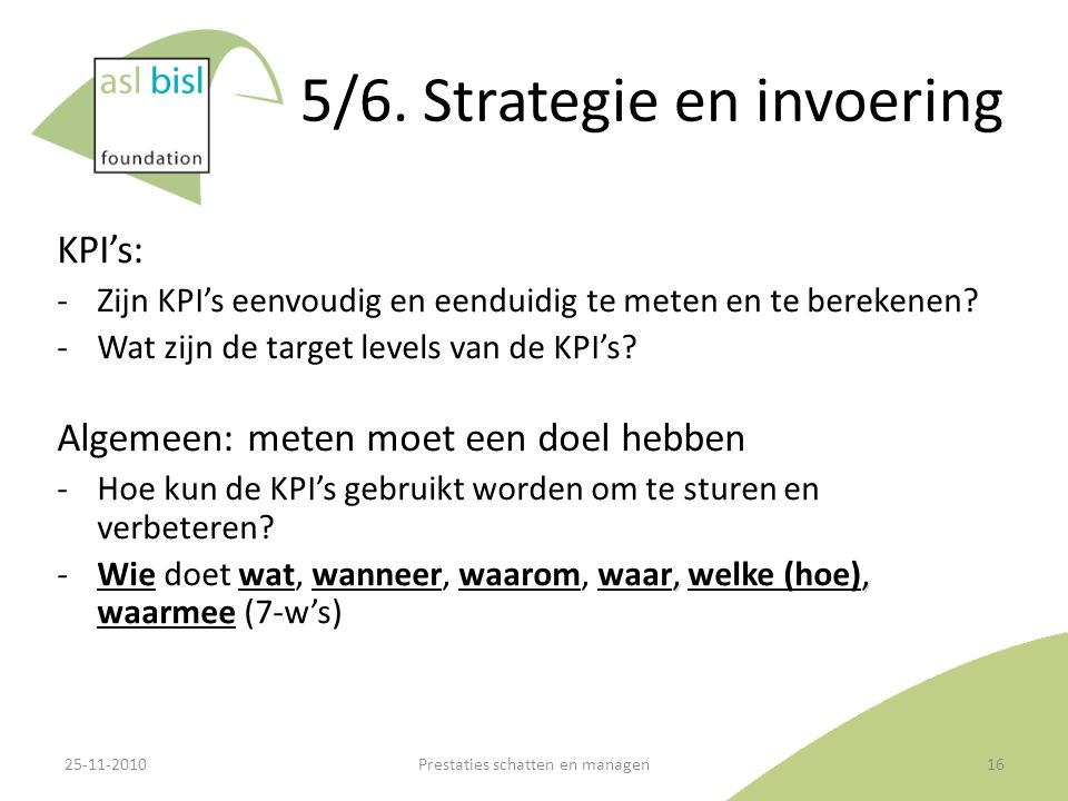 5/6. Strategie en invoering