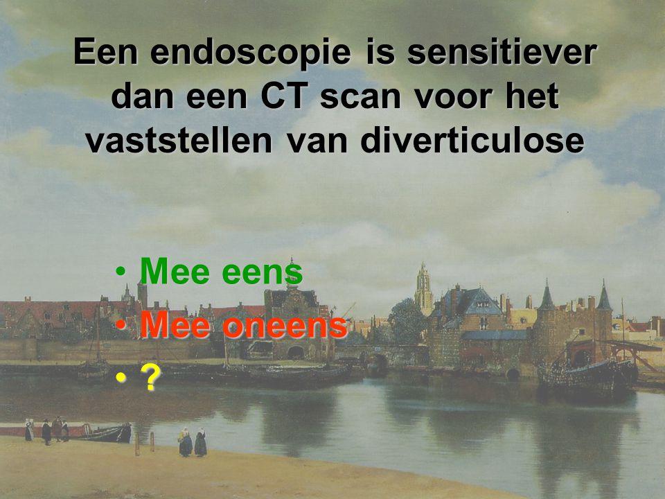 Een endoscopie is sensitiever dan een CT scan voor het vaststellen van diverticulose