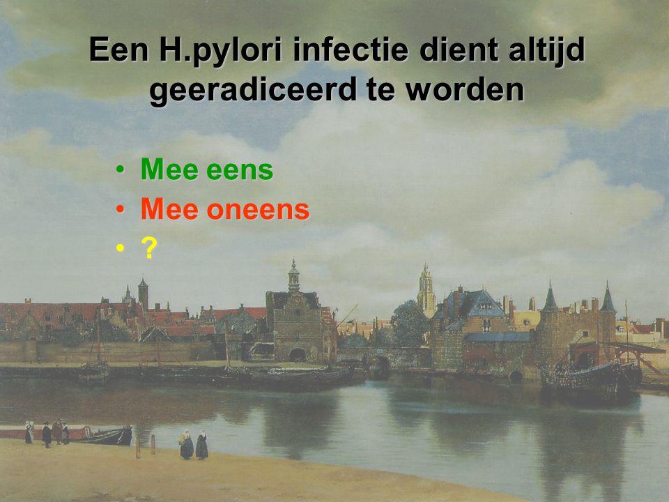 Een H.pylori infectie dient altijd geeradiceerd te worden