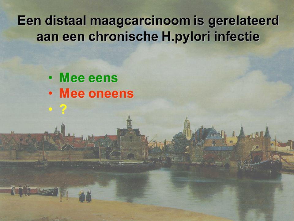 Een distaal maagcarcinoom is gerelateerd aan een chronische H
