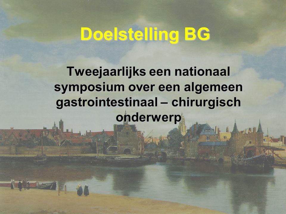 Doelstelling BG Tweejaarlijks een nationaal symposium over een algemeen gastrointestinaal – chirurgisch onderwerp.