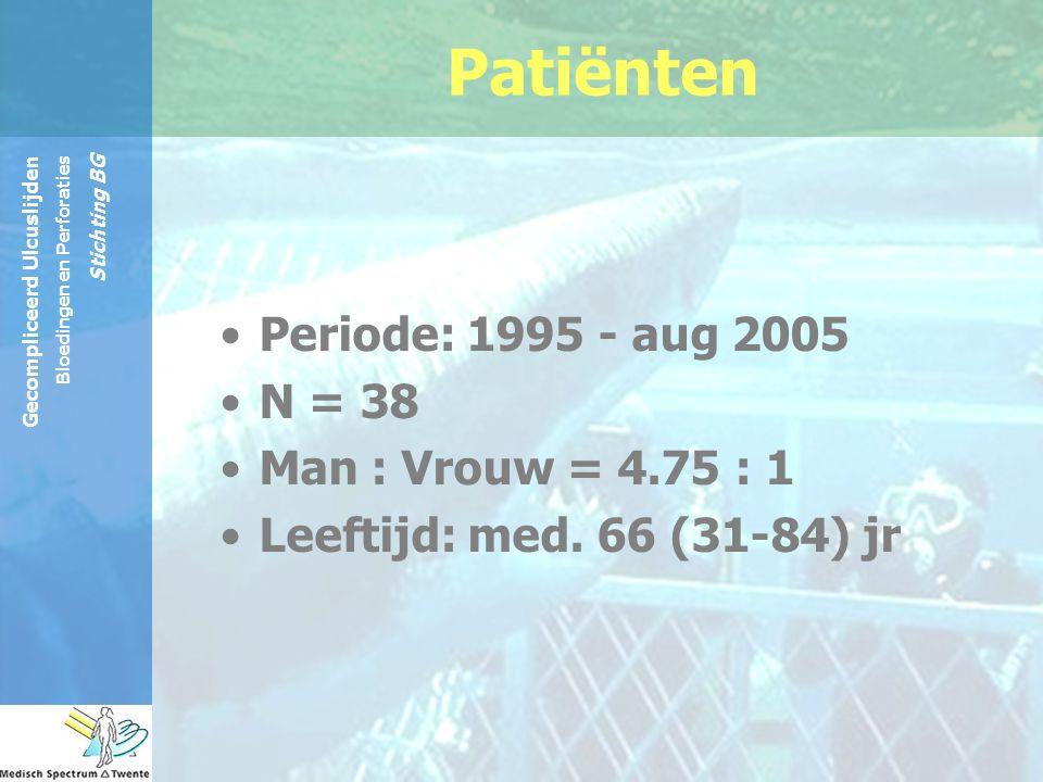Patiënten Periode: 1995 - aug 2005 N = 38 Man : Vrouw = 4.75 : 1