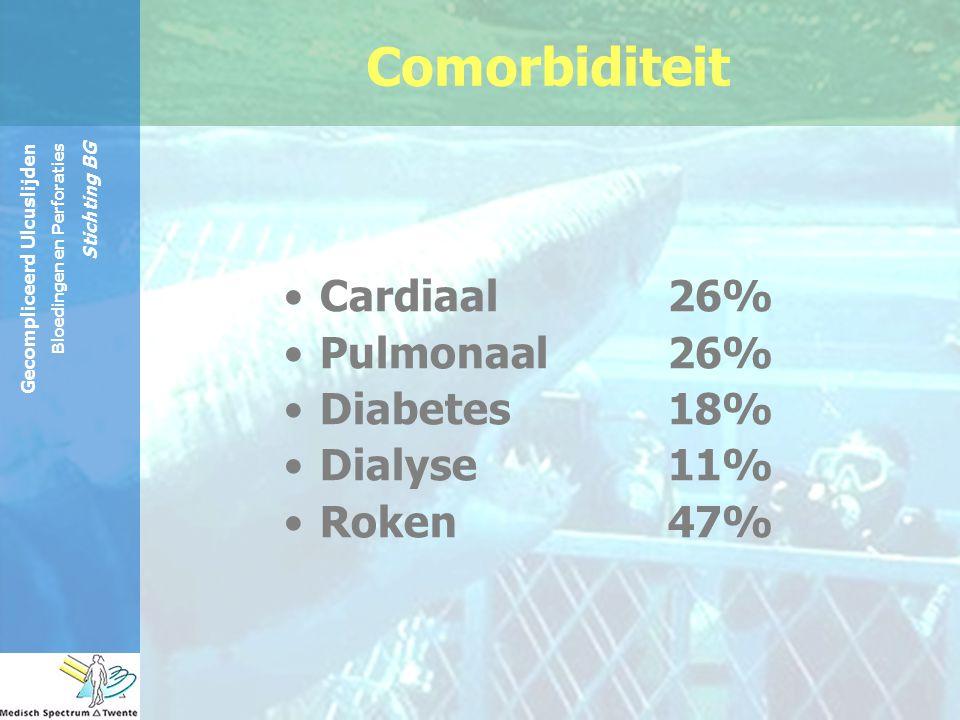 Comorbiditeit Cardiaal 26% Pulmonaal 26% Diabetes 18% Dialyse 11%