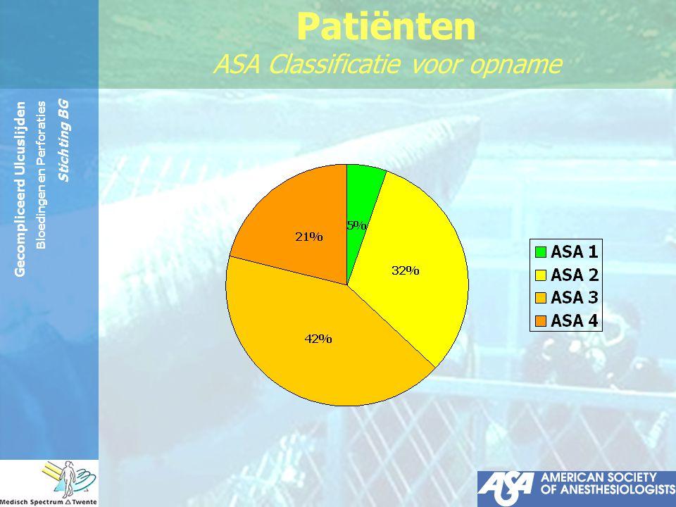 Patiënten ASA Classificatie voor opname