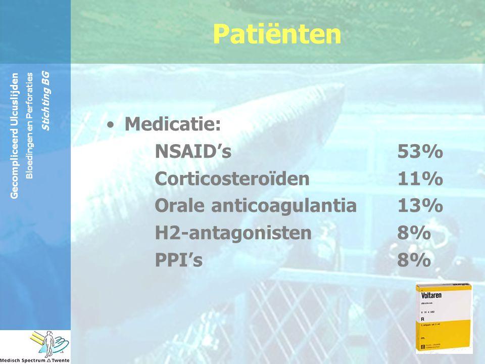 Patiënten Medicatie: NSAID's 53% Corticosteroïden 11%