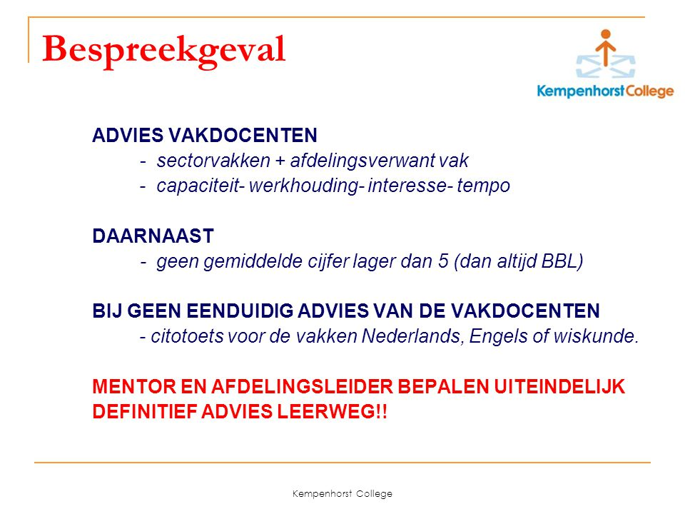 Bespreekgeval ADVIES VAKDOCENTEN - sectorvakken + afdelingsverwant vak