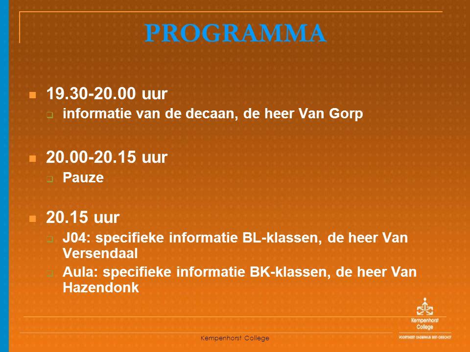 PROGRAMMA 19.30-20.00 uur 20.00-20.15 uur 20.15 uur
