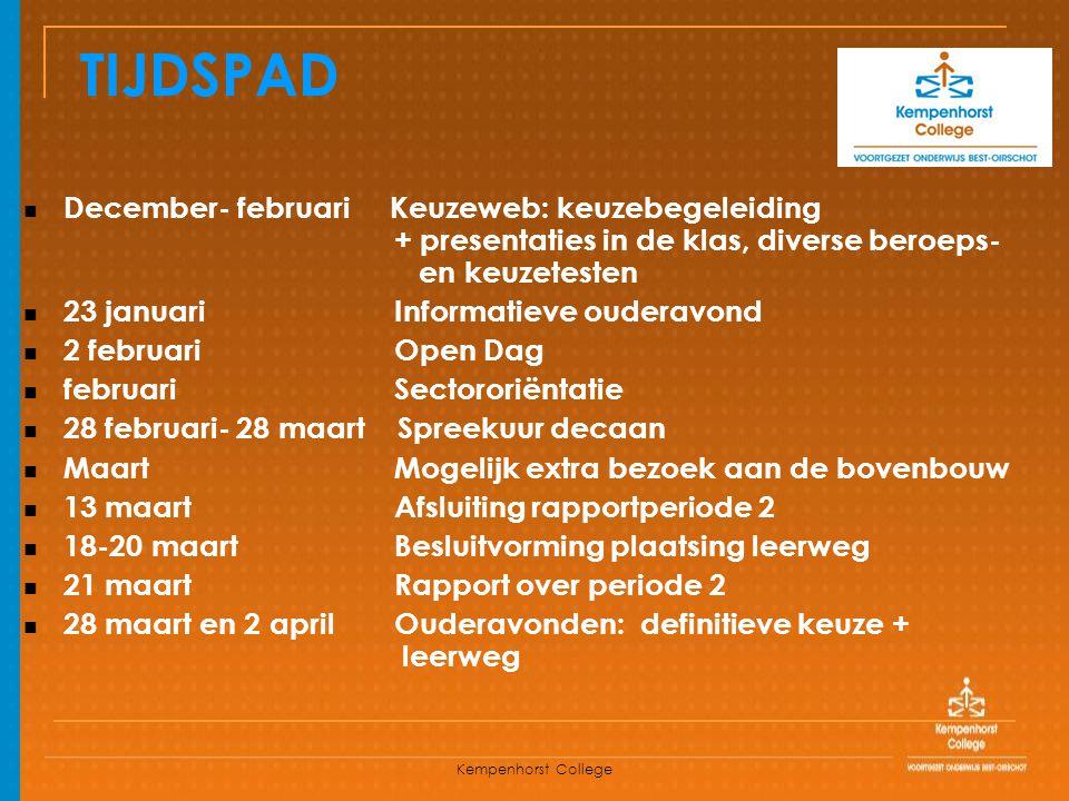 TIJDSPAD December- februari Keuzeweb: keuzebegeleiding + presentaties in de klas, diverse beroeps- en keuzetesten.